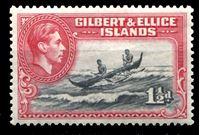 Bild von Гилберта и Эллис о-ва 1939-55 гг. Gb# 45 • 1 1/2d. • Георг VI основной выпуск • каноэ на рифе • MLH OG XF