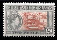 Bild von Гилберта и Эллис о-ва 1939-55 гг. Gb# 46 • 2d. • Георг VI основной выпуск • лодочный домик • MLH OG XF