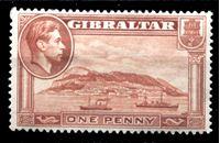 Изображение Гибралтар 1938-51 гг. Gb# 122 • 1d. • перф. - 14 • MLH OG VF ( кат.- £27 )