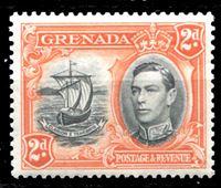 Изображение Гренада 1938-50 гг. Gb# 156a • 2d. • Георг VI основной выпуск • Парусник (перф. - 13,5 х 12,5) • MLH OG XF ( кат.- £3 )