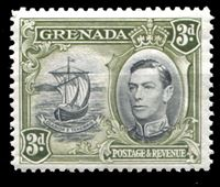 Изображение Гренада 1938-50 гг. Gb# 158 • 3d. • Парусник (перф. - 12,5 х 13) • MLH OG XF ( кат.- £16 )