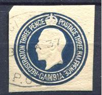 Изображение Гамбия 1937 г. • 1 1/2d. • Георг V (вырезка из ПК) • Used XF