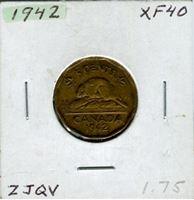 Image de Канада 1942 г. KM# 39 • 5 центов • XF