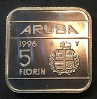 Picture of Аруба 1996 г. • KM# 12 • 5 флоринов • регулярный выпуск • MS BU люкс! • FS