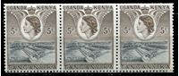 Image de Кения, Уганда и Танганьика 1954-9 гг. Gb# 167b • 5 c. • дамба Оуэн-Фолс (марка из роллов) • MNH OG XF • сцепка 3м. ( кат.- £6 )