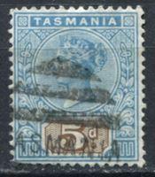 Изображение Австралия • Тасмания 1892-99 гг. Gb# 218 • 5d. • Королева Виктория • стандарт • Used XF ( кат.- £4 )