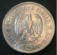Изображение Германия 3-й рейх 1936 г. • KM# 86 • 5 рейхсмарок • (серебро) • символ Рейха • Гинденбург • регулярный выпуск • BU-