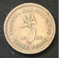 Изображение Родезия и Ньясаленд 1962 г. • KM# 3 • 3 пенса • Елизавета II • регулярный выпуск • XF+