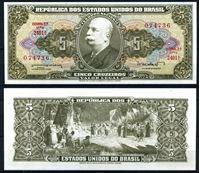 Изображение Бразилия 1962 г. P# 176a • 5 крузейро • Барон Рио-Бранко • регулярный выпуск • UNC пресс