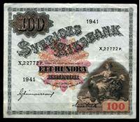 Изображение Швеция 1941 г. P# 36x • 100 крон • король Густав I Ваза • регулярный выпуск  • серия № - X,22772P. • XF