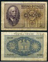 Bild von Италия 1940 г. P# 28a • 5 лир • регулярный выпуск • F-