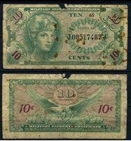 Изображение США 1965 г. P# M58 • 10 центов • серия 641 • армейский чек • VG-