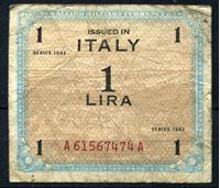 Bild von Италия 1943 г. P# M10 • 1 лира • оккупационный выпуск • F-