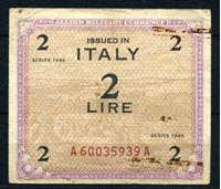 """Изображение Италия 1943 г. P# M11a • 2 лиры • Союзные войска (с буквой """"F"""") • оккупационный выпуск • F-"""