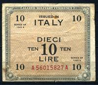 """Изображение Италия 1943 г. P# M13a • 10 лир • Союзные войска (с буквой """"F"""") • оккупационный выпуск • F+"""
