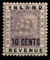 Bild von Британская Гвиана 1888-1889 гг. Gb# 181 • 10c. • надпечатка нов. номинала • MH OG XF ( кат.- £6 )