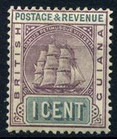 Bild von Британская Гвиана 1889 г. Gb# 193 • 1c. • Парусный фрегат • MH OG VF ( кат.- £7 )