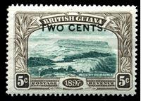 Bild von Британская Гвиана 1899 г. Gb# 222 • 2c. на 5c. • надпечатка нов. номинала • MLH OG XF ( кат.- £4 )