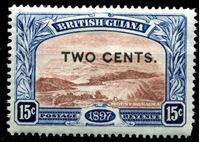Bild von Британская Гвиана 1899 г. Gb# 224 • 2c. на 15c. • надпечатка нов. номинала • MLH OG XF ( кат.- £4 )