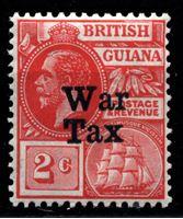"""Bild von Британская Гвиана 1918 г. Gb# 271 • 2c. • надпечатка """"военный налог"""" • фискальный выпуск • MNH OG XF ( кат.- £2 )"""