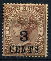 Bild von Британский Гондурас 1900-1903 гг. Gb# 38 • 3c. на 3d. • надпечатка нов. номинала • MH OG VF ( кат.- £4 )