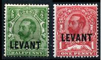 "Bild von Британский Левант 1911-1913 гг. Gb# L16-17 • 1/2 и 1d. • Георг V • надпечатка ""Levant"" • стандарт • MH/NH OG XF"
