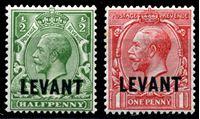 """Bild von Британский Левант 1921 г. Gb# 41-2 • 1/2 и 1d. • Георг V • надпечатка """"Levant"""" • стандарт • MH/NH OG XF"""