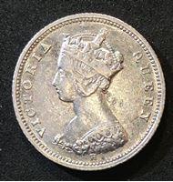 Изображение Гонконг 1872 г. H (Heaton) • KM# 6.3 • 10 центов • самый редкий год! • Королева Виктория • регулярный выпуск • XF+