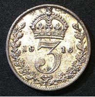 Picture of Великобритания 1916 г. • KM# 813 • 3 пенса • (серебро) • Георг V • регулярный выпуск • XF