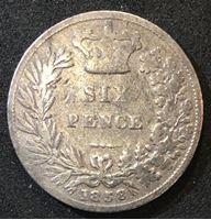 Bild von Великобритания 1838 г. • KM# 733.1 • 6 пенсов • первый год чеканки типа (серебро) • королева Виктория • регулярный выпуск • VG