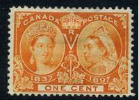 Image de Канада 1897 г. Gb# 122 • 1 c. • Королева Виктория • 60-летний юбилей правления • MH OG VF