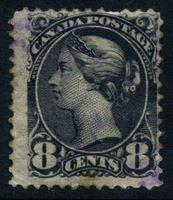 Изображение Канада 1893 г. Gb# 118 • 8 c. • королева Виктория (малый размер) темно-серая • Used VF ( кат.- £9 )