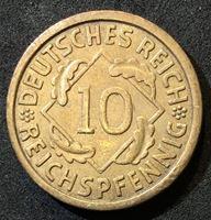 Изображение Германия 1933 г. А (Берлин) • KM# 40 • 10 рейхспфеннигов • редкий год!! • колосья пшеницы • регулярный выпуск • BU- ( кат.- $200,00 )
