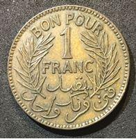 Picture of Тунис 1926 г. • KM# 247 • 1 франк • регулярный выпуск • AU ( кат.- $25,00 )