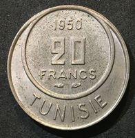 Image de Тунис 1950 г. KM# 274 • 20 франков • регулярный выпуск • MS BU ( кат.- $10,00 )