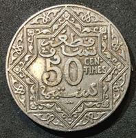 Image de Марокко 1924 г. KM# 35.2 • 50 сантимов • регулярный выпуск • XF+ ( кат.- $10,00 )