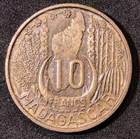 Picture of Мадагаскар 1953 г. • KM# 6 • 10 франков • регулярный выпуск • MS