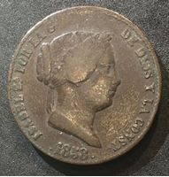 Bild von Испания 1858 г. • KM# 615.2 • 25 сентимос • королева Изабелла II • герб Испании • регулярный выпуск • VF