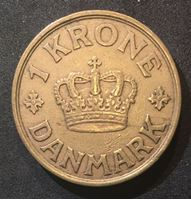 Bild von Дания 1939 г. • KM# 824.4 • 1 крона • королевская монограмма • регулярный выпуск • XF+ ( кат.- $35,00 )