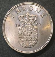 Изображение Дания 1962 г. • KM# 851.1 • 1 крона • король Фредерик IX • регулярный выпуск • MS BU люкс! ( кат.- $30,00 )