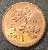 Image de Турция 1971 г. KM# 890.2 • 5 курушей • регулярный выпуск • MS BU люкс!