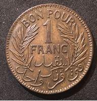 Изображение Тунис 1921 г. • KM# 247 • 1 франк • первый год чеканки типа • регулярный выпуск • UNC- ( кат.- $20,00 )