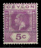 Picture of Цейлон 1912-1925 гг. Gb# 304 • 5 c. • Георг V • стандарт • Used VF