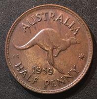 Изображение Австралия 1959 г. KM# 56 • пол пенни • первый год чеканки типа • Елизавета II • кенгуру • регулярный выпуск • MS