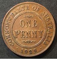 Picture of Австралия 1929 г. • KM# 23 • 1 пенни • Георг V • регулярный выпуск • XF- ( кат.- $55,00 )