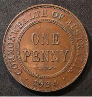Picture of Австралия 1934 г. • KM# 23 • 1 пенни • Георг V • регулярный выпуск • XF+ ( кат.- $20,00 )