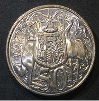 Изображение Австралия 1966 г. • KM# 67 • 50 центов • Елизавета II • кенгуру, страус и герб • регулярный выпуск • MS BU люкс!