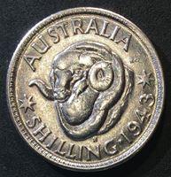 Picture of Австралия 1943 г. S • KM# 38 • 1 шиллинг • серебро • Георг VI • баран • регулярный выпуск • BU ( кат.- $30,00 )