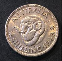Bild von Австралия 1943 г. S • KM# 38 • 1 шиллинг • серебро • Георг VI • баран • регулярный выпуск • MS BU ( кат.- $30,00 )