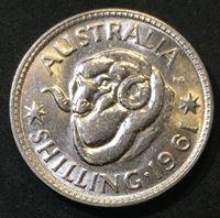 Picture of Австралия 1961 г. • KM# 59 • 1 шиллинг • серебро • Елизавета II • баран • регулярный выпуск • MS BU